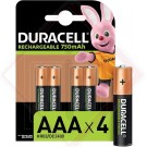 BATTERIE DURACELL RICARICABILI AAA Pz.4 -- Codice: 74315 001