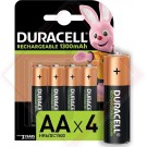 BATTERIE DURACELL RICARICABILI AA Pz.4 -- Codice: 74315 010